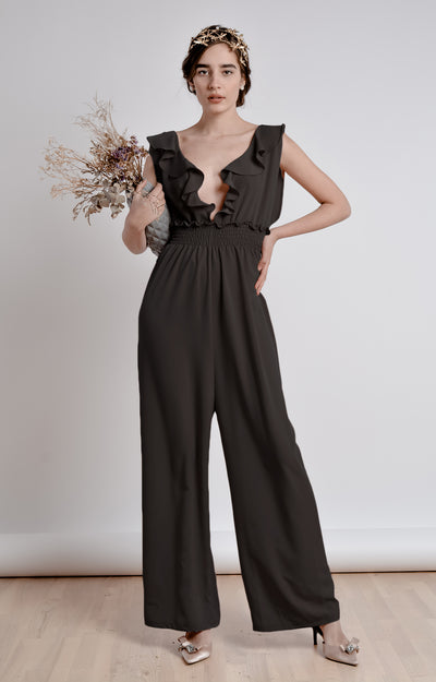 The Black Ruffle  Jumpsuit - Bastet Noir - steele-gray-rose