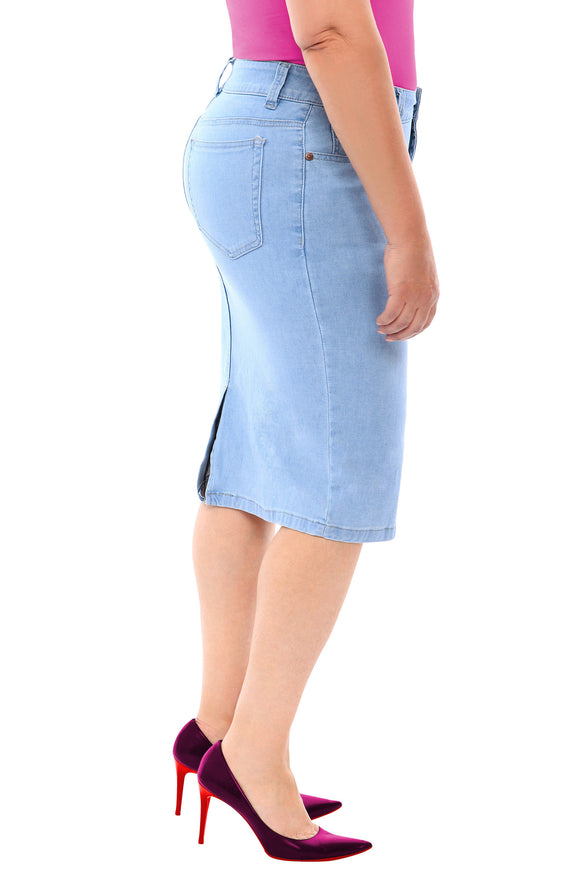 360 Stretch Knee Length Pencil Skirt in Sky Blue - steele-gray-rose