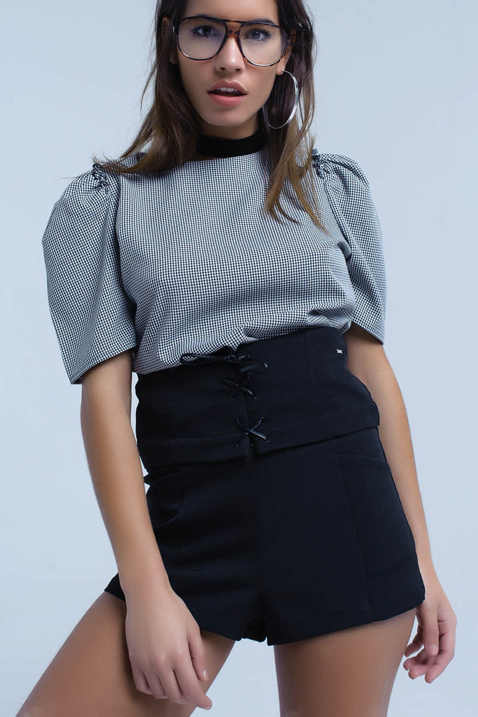 Black Short With Tie Detail