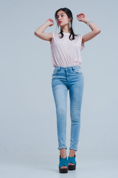 Skinny Jeans in Light Blue - steele-gray-rose