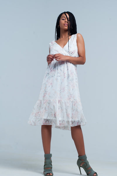 Chiffon Floral Midi Dress With v Neck - steele-gray-rose