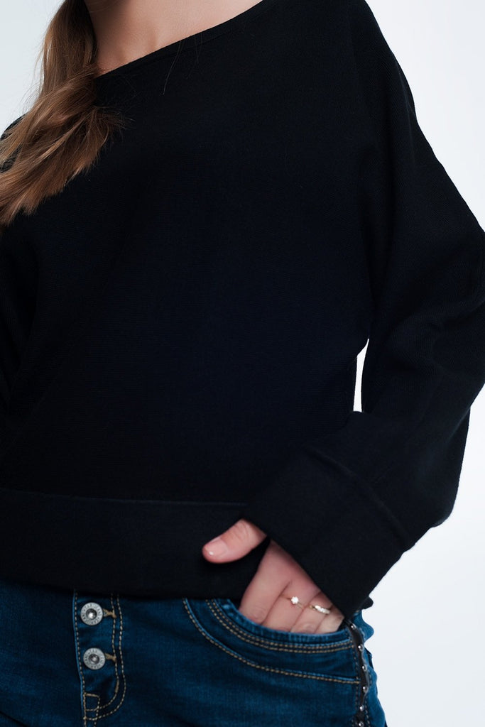 Black Sweater With Boat Neck