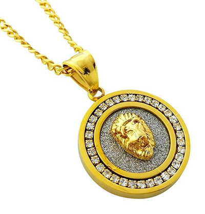 Father's Day! Circular Inspirational Pendant Necklace in 14K Gold - Four Options Available - steele-gray-rose