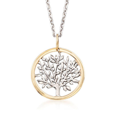 Gold Edge Praying to the Tree of Life Necklace in 18K Gold Plated - steele-gray-rose