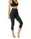 High Waisted Yoga Capri Leggings - Slate Grey - steele-gray-rose