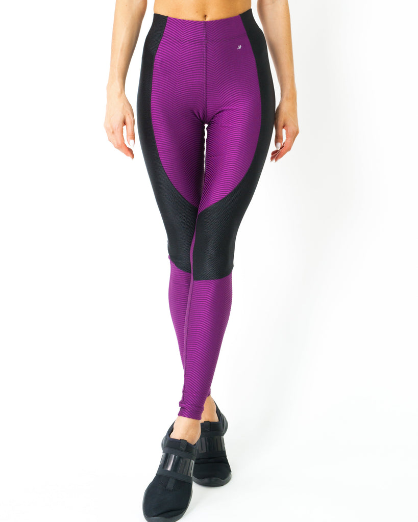 High Waist Contrast Yoga Workout Legging - steele-gray-rose