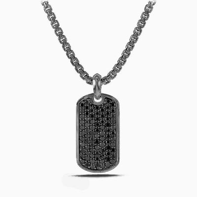 Father's Day! Stainless Steel Micro-Pav'e Crystal Setting Necklace - Five Options - steele-gray-rose