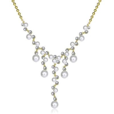 Dangling Pearl Chandelier Pav'e Statement Necklace - steele-gray-rose