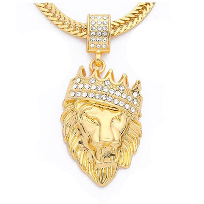 Father's Day! King of the Jungle Iced Out Pendant Necklace in 18K Gold - steele-gray-rose