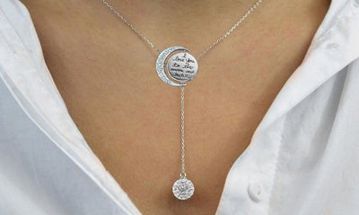 Engraved To The Moon And Back Y Necklace - steele-gray-rose