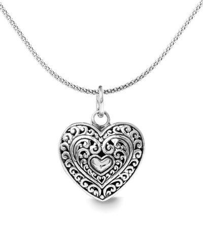 "Filigree Beating Heart Necklace in 18K White Gold Plated 18"" - steele-gray-rose"