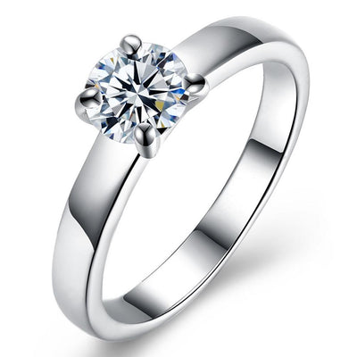 18K White Gold Plated  Single Swarovski Solitaire Ring - steele-gray-rose