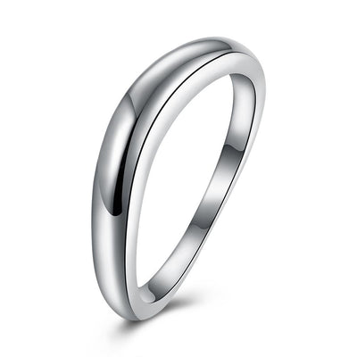 Sterling Silver Curved Sleek Simple Band Ring - steele-gray-rose