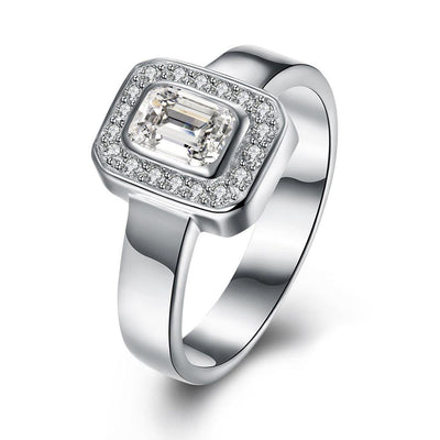 Sterling Silver Swarovski Emerald Cut Cocktail Ring - steele-gray-rose
