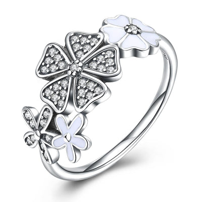 Sterling Silver Swarovski Floral Daisy Ring - steele-gray-rose