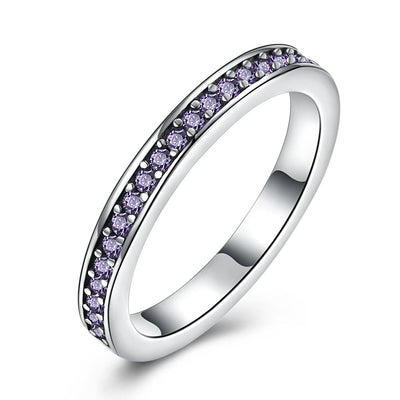 Sterling Silver Purple Swarovski Band Ring - steele-gray-rose