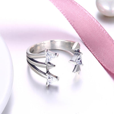 Sterling Silver Swarovski Clawed Adjustable Ring - steele-gray-rose