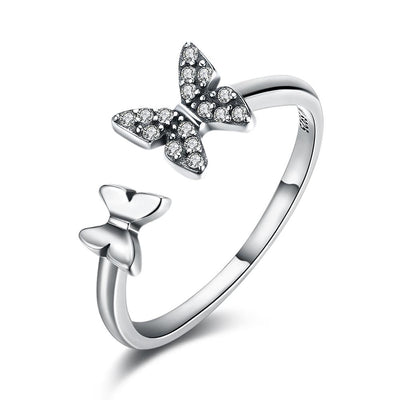 Sterling Silver Swarovski Butterfly Ring - steele-gray-rose