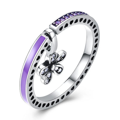 Sterling Silver Purple Enamel Clover Drop Ring - steele-gray-rose