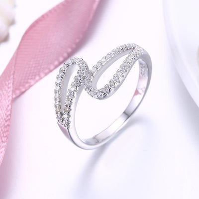 Sterling Silver Swarovski Duo Curved Adjustable Ring - steele-gray-rose