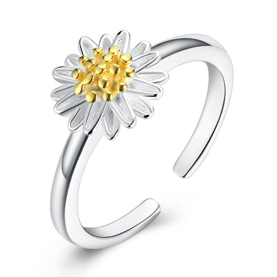 Sterling Silver Simple Floral Petal Adjustable Ring - steele-gray-rose