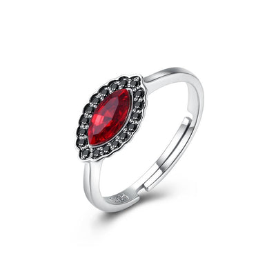 Sterling Silver Red Gem Adjustable Ring - steele-gray-rose