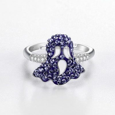 Sterling Silver Purple Swarovski Mushroom Ring - steele-gray-rose