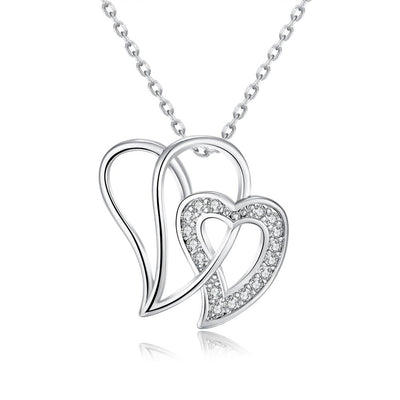 Duo Intertwined Hearts Swarovski Elements Necklace - steele-gray-rose