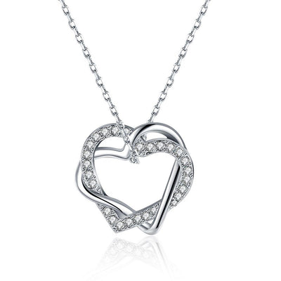 Duo Intertwined Heart Shaped Swarovski Elements Necklace in 18K White Gold - steele-gray-rose
