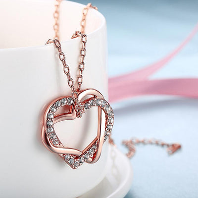 Duo Intertwined Heart Shaped Swarovski Elements Necklace in 14K Rose Gold - steele-gray-rose
