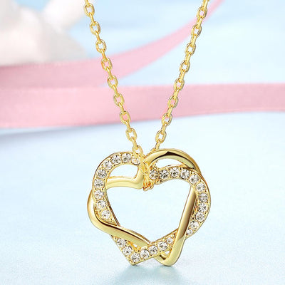 Duo Intertwined Heart Shaped Swarovski Elements Necklace in 14K Gold - steele-gray-rose