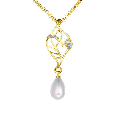 Freshwater Pearl Swarovski Curved Pendant Necklace in 14K Gold - steele-gray-rose