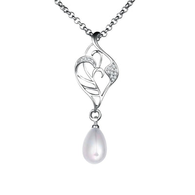 Freshwater Pearl Swarovski Curved Pendant Necklace in 18K White Gold - steele-gray-rose