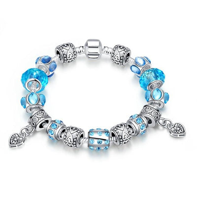 Aruba Aqua Blue Pandora Inspired Bracelet - steele-gray-rose