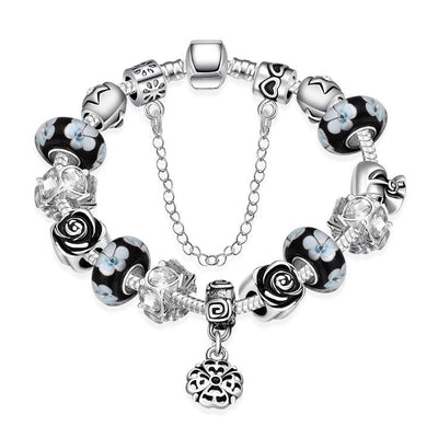 Dark Floral Night Pandora Inspired Bracelet - steele-gray-rose
