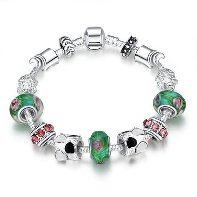 Delicious Cotton Candy Pandora Inspired Bracelet - steele-gray-rose