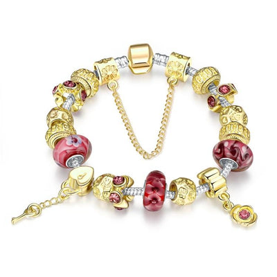 Gold & Milk Ruby Pandora Inspired Bracelet - steele-gray-rose