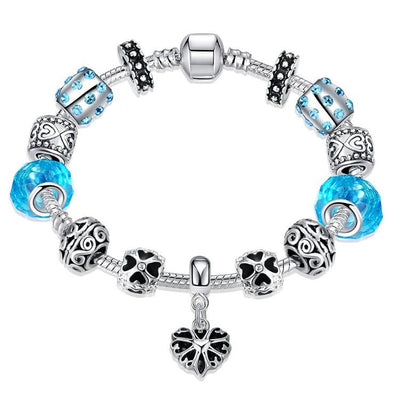 Aquamarine Crystal Heart Pandora Inspired Bracelet - steele-gray-rose