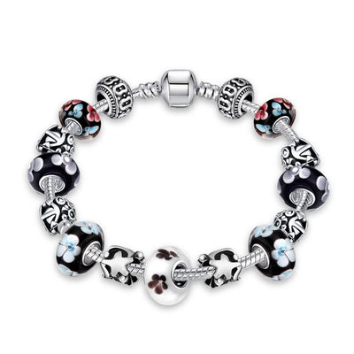 Flower Bundles Pandora Inspired Bracelet - steele-gray-rose