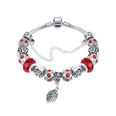 Dark Ruby Red Leaf Branch Pandora Inspired Bracelet - steele-gray-rose