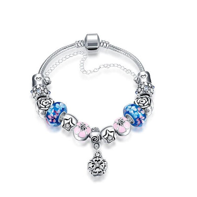 Blue Raspberry Flavored Pandora Inspired Bracelet - steele-gray-rose
