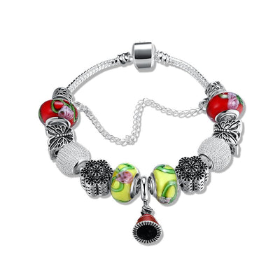 Banana & Cherry Swirl Pandora Inspired Bracelet - steele-gray-rose