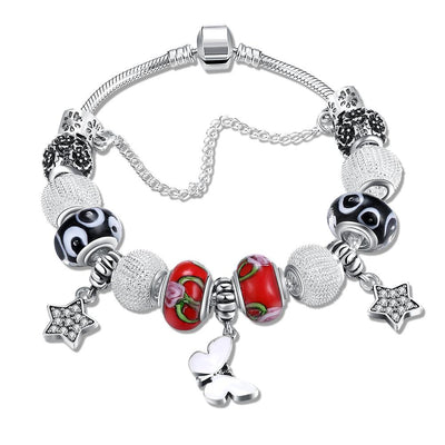 Apple Pie Swirl Design Pandora Inspired Bracelet - steele-gray-rose
