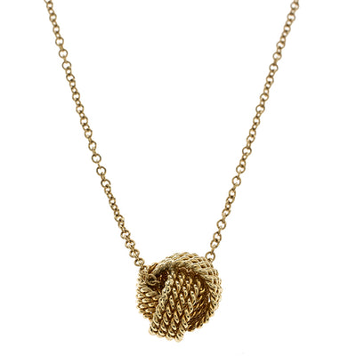 Mesh knotted Ball Drop  Necklace - steele-gray-rose