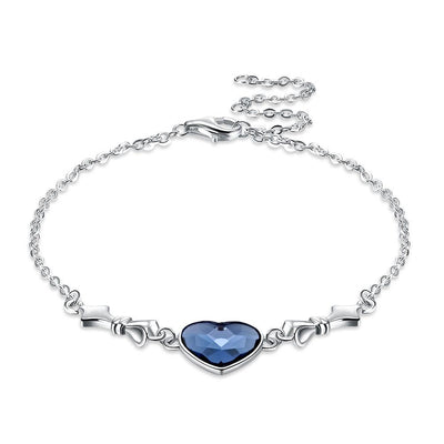 Bermuda Blue Swarovski Crystals Sterling Silver Heart Bracelet - steele-gray-rose