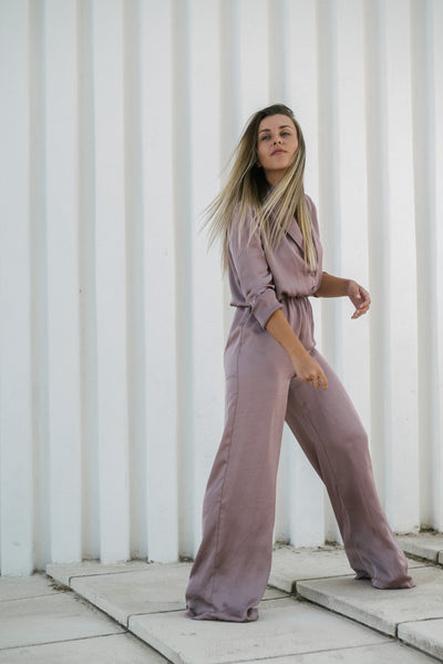 Pink Silk Jumpsuit - steele-gray-rose