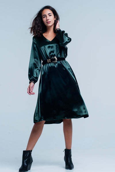 Green Satin Party  Midi Dress - steele-gray-rose