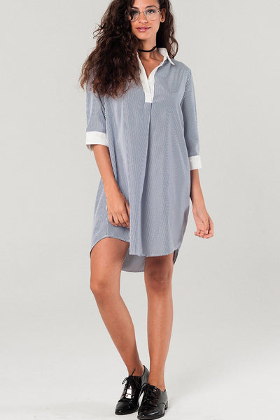Shirtdress With Navy Stripes - steele-gray-rose
