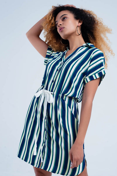 Navy Dress With Stripes - steele-gray-rose