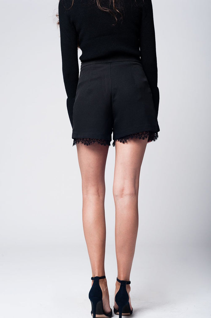Black Waist-Length Lace Hem Shorts